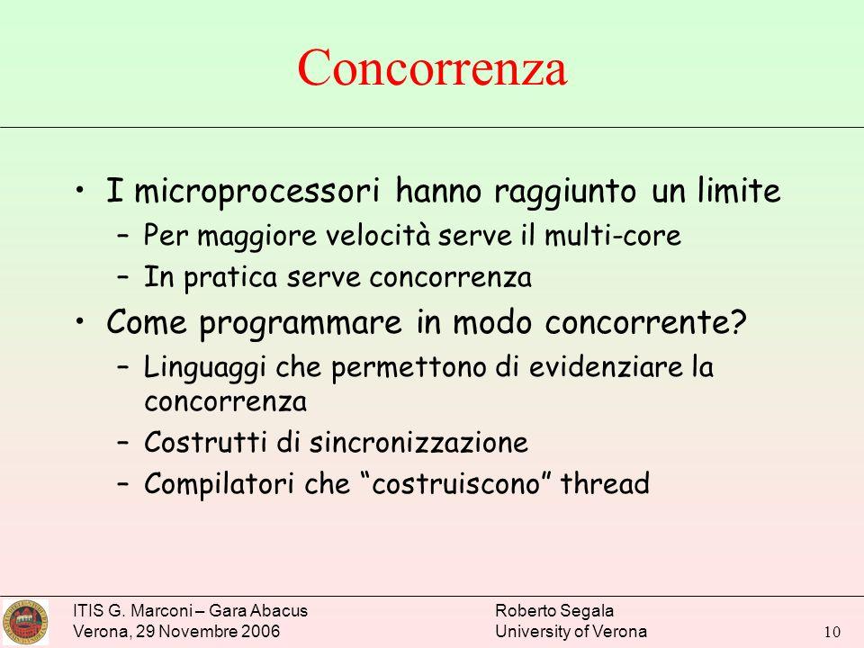 ITIS G. Marconi – Gara Abacus Verona, 29 Novembre 2006 Roberto Segala University of Verona 10 Concorrenza I microprocessori hanno raggiunto un limite