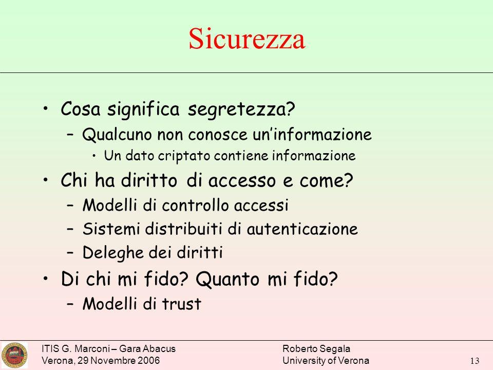 ITIS G. Marconi – Gara Abacus Verona, 29 Novembre 2006 Roberto Segala University of Verona 13 Sicurezza Cosa significa segretezza? –Qualcuno non conos
