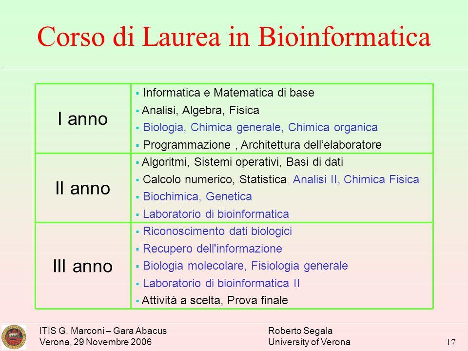 ITIS G. Marconi – Gara Abacus Verona, 29 Novembre 2006 Roberto Segala University of Verona 17 Corso di Laurea in Bioinformatica Riconoscimento dati bi