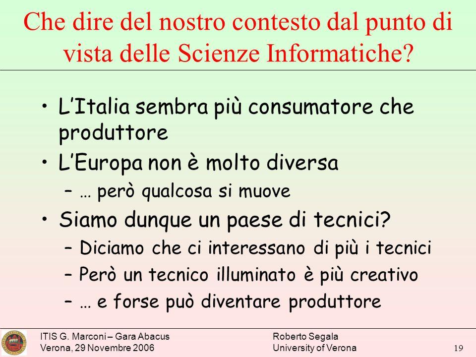 ITIS G. Marconi – Gara Abacus Verona, 29 Novembre 2006 Roberto Segala University of Verona 19 Che dire del nostro contesto dal punto di vista delle Sc