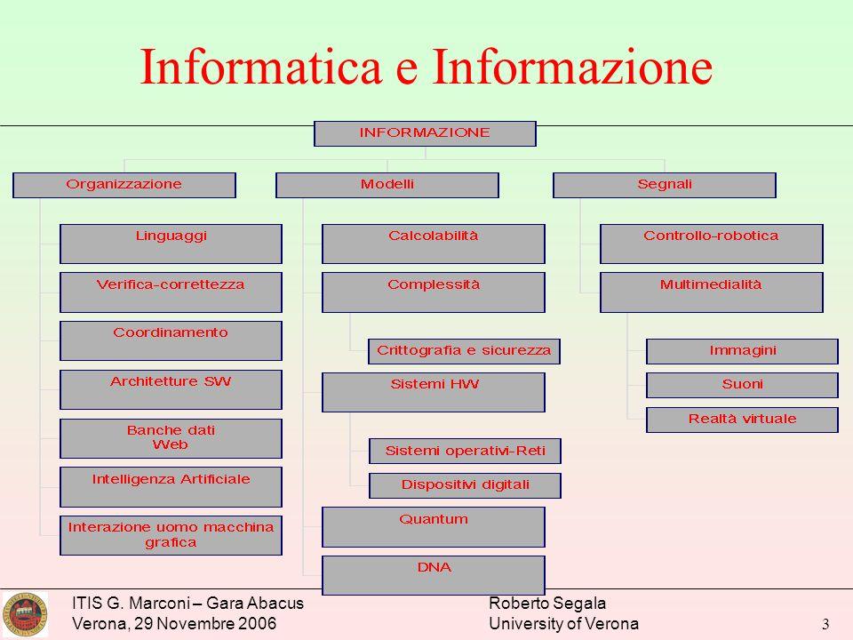 ITIS G. Marconi – Gara Abacus Verona, 29 Novembre 2006 Roberto Segala University of Verona 3 Informatica e Informazione