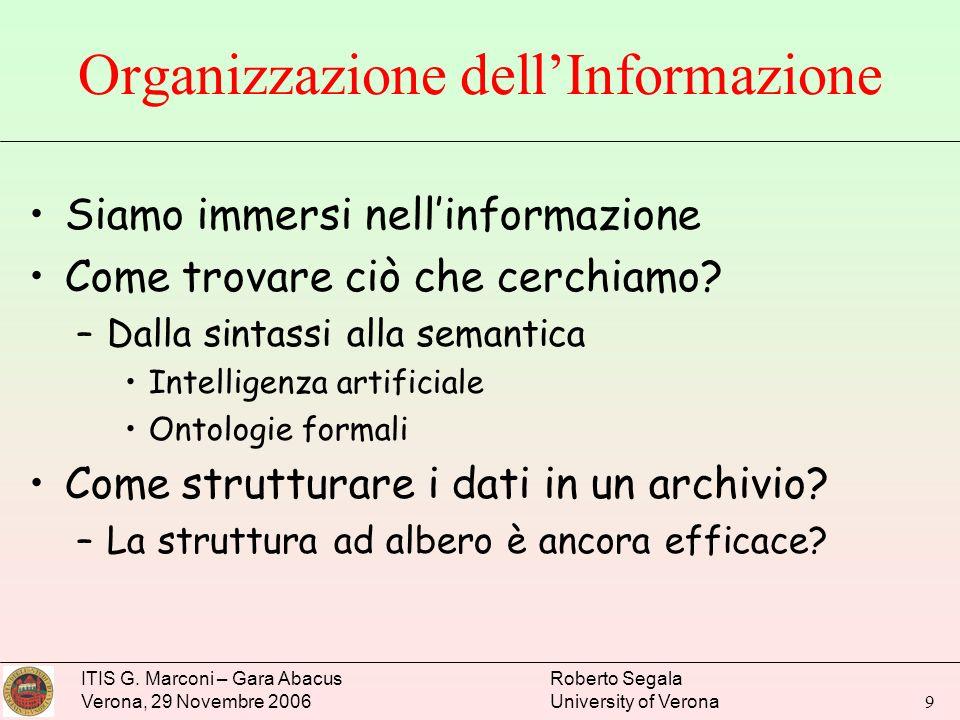 ITIS G. Marconi – Gara Abacus Verona, 29 Novembre 2006 Roberto Segala University of Verona 9 Organizzazione dellInformazione Siamo immersi nellinforma
