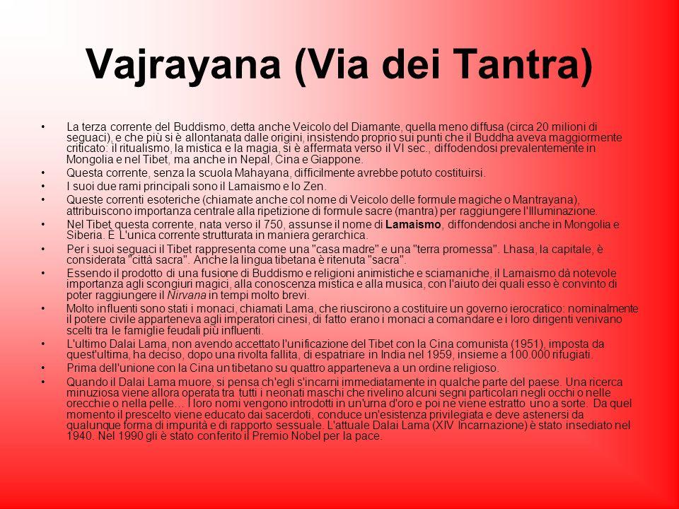 Vajrayana (Via dei Tantra) La terza corrente del Buddismo, detta anche Veicolo del Diamante, quella meno diffusa (circa 20 milioni di seguaci), e che