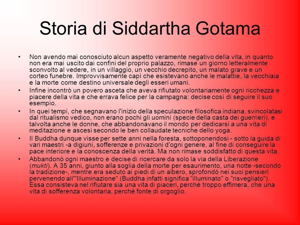 Storia di Siddartha Gotama Non avendo mai conosciuto alcun aspetto veramente negativo della vita, in quanto non era mai uscito dai confini del proprio