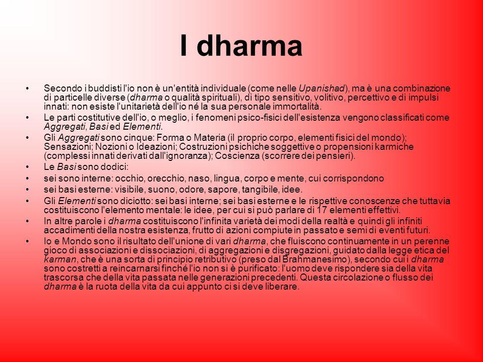 I dharma Secondo i buddisti l'io non è un'entità individuale (come nelle Upanishad), ma è una combinazione di particelle diverse (dharma o qualità spi
