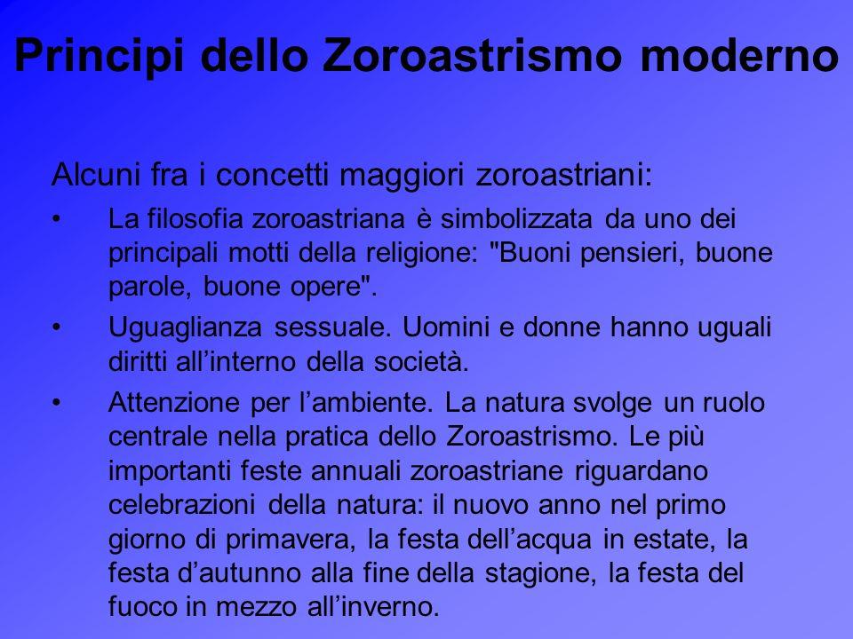 Principi dello Zoroastrismo moderno Alcuni fra i concetti maggiori zoroastriani: La filosofia zoroastriana è simbolizzata da uno dei principali motti