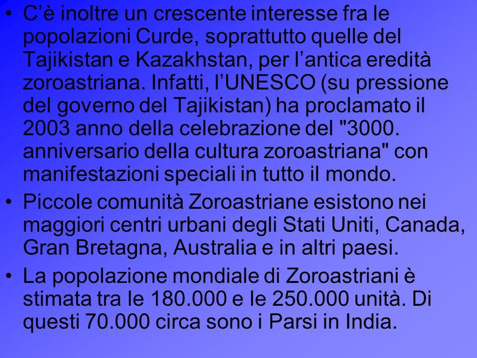 Cè inoltre un crescente interesse fra le popolazioni Curde, soprattutto quelle del Tajikistan e Kazakhstan, per lantica eredità zoroastriana. Infatti,