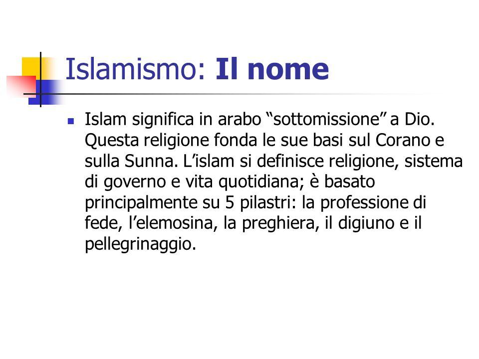 Islamismo: Il nome Islam significa in arabo sottomissione a Dio. Questa religione fonda le sue basi sul Corano e sulla Sunna. Lislam si definisce reli