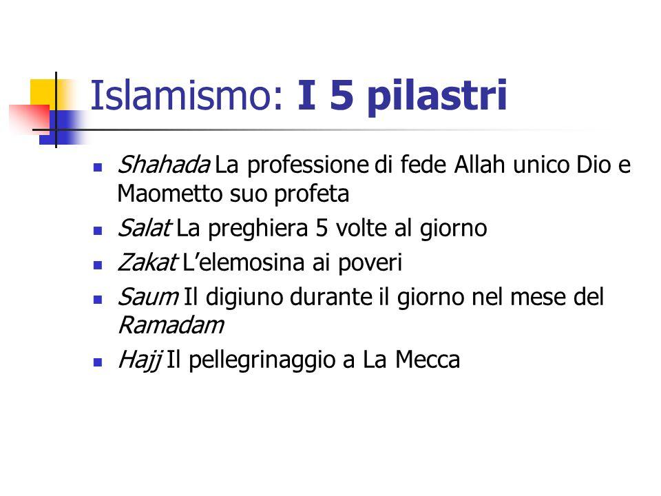 Islamismo: I 5 pilastri Shahada La professione di fede Allah unico Dio e Maometto suo profeta Salat La preghiera 5 volte al giorno Zakat Lelemosina ai