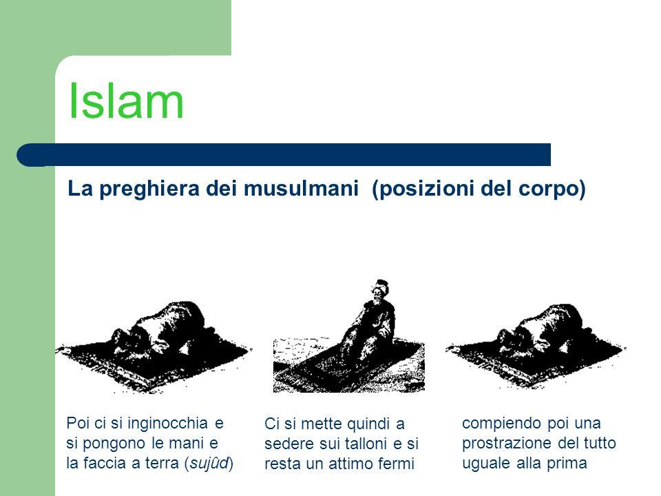 Islam La preghiera dei musulmani (posizioni del corpo) Poi ci si inginocchia e si pongono le mani e la faccia a terra (sujûd) Ci si mette quindi a sed