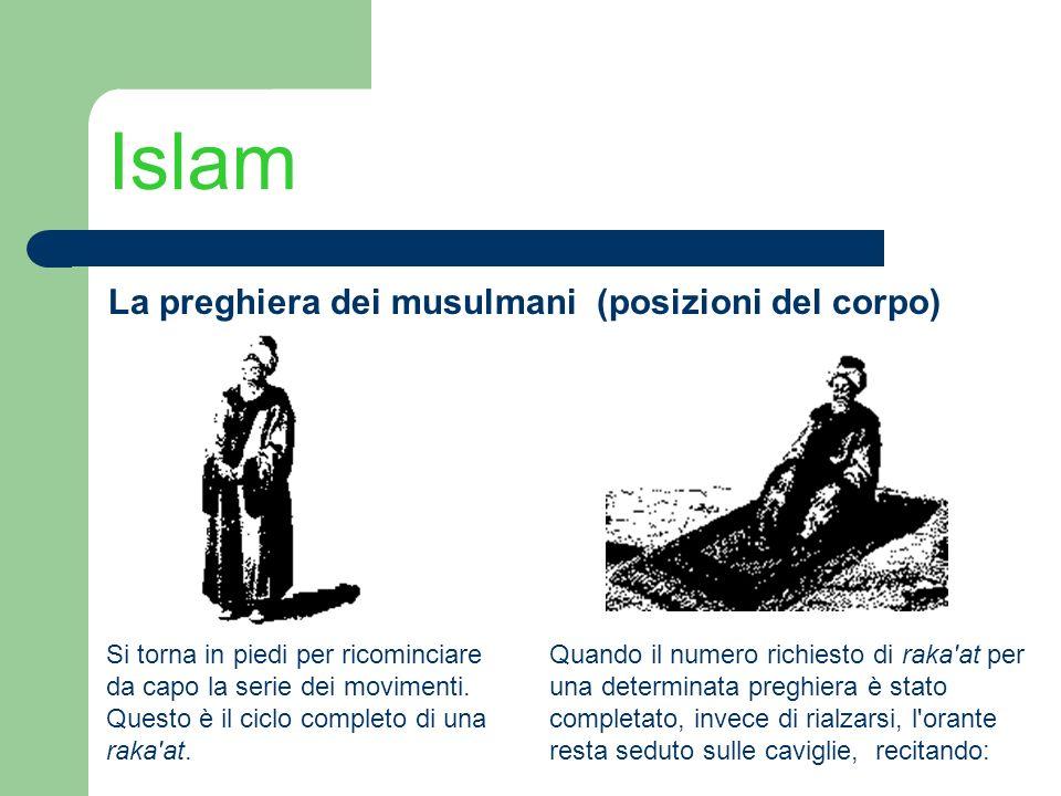 Islam La preghiera dei musulmani (posizioni del corpo) Si torna in piedi per ricominciare da capo la serie dei movimenti. Questo è il ciclo completo d