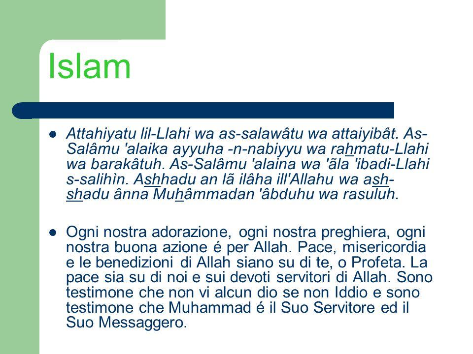 Islam Attahiyatu lil-Llahi wa as-salawâtu wa attaiyibât. As- Salâmu 'alaika ayyuha -n-nabiyyu wa rahmatu-Llahi wa barakâtuh. As-Salâmu 'alaina wa 'ãla