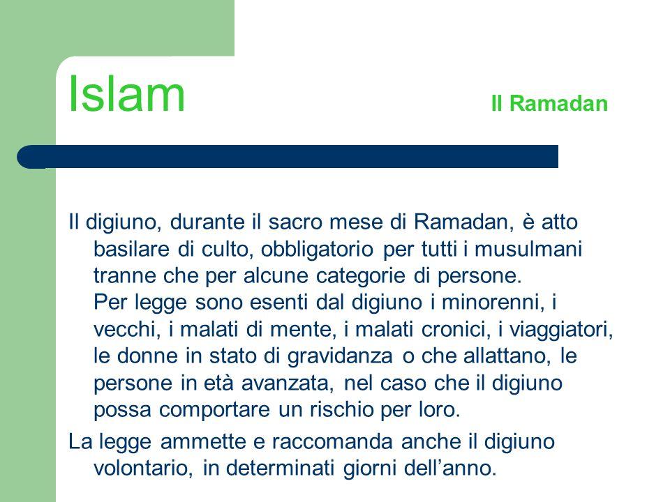 Islam Il Ramadan Il digiuno, durante il sacro mese di Ramadan, è atto basilare di culto, obbligatorio per tutti i musulmani tranne che per alcune cate