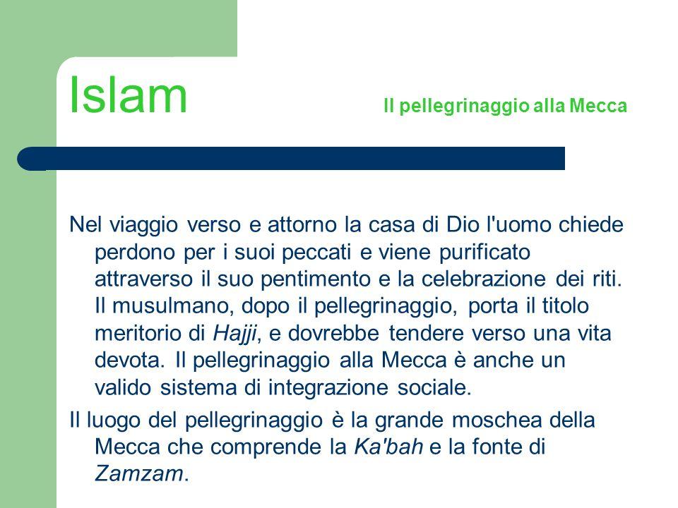 Islam Il pellegrinaggio alla Mecca Nel viaggio verso e attorno la casa di Dio l'uomo chiede perdono per i suoi peccati e viene purificato attraverso i