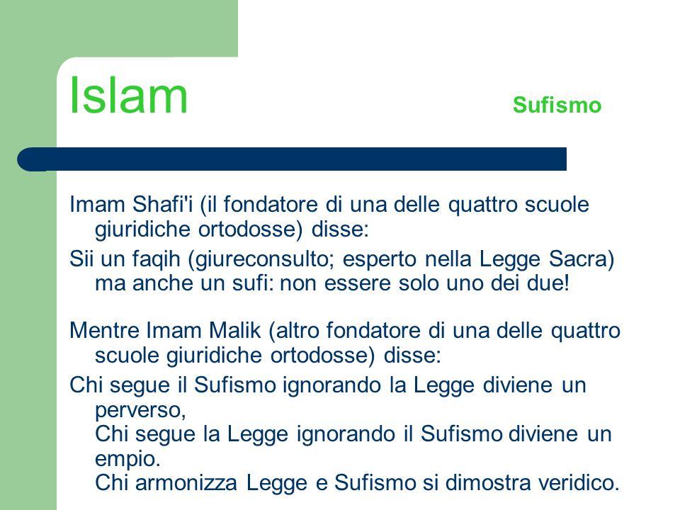 Islam Sufismo Imam Shafi'i (il fondatore di una delle quattro scuole giuridiche ortodosse) disse: Sii un faqih (giureconsulto; esperto nella Legge Sac