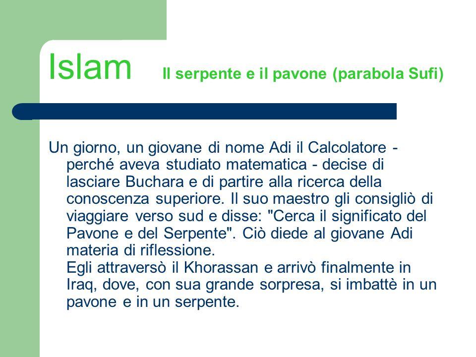 Islam Il serpente e il pavone (parabola Sufi) Un giorno, un giovane di nome Adi il Calcolatore - perché aveva studiato matematica - decise di lasciare
