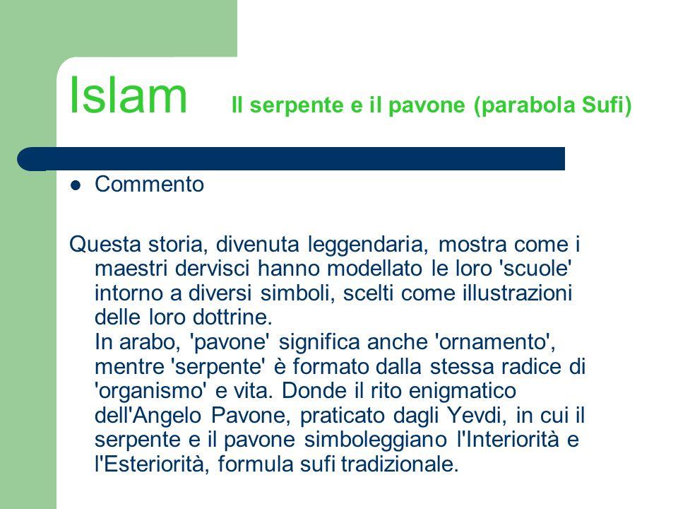 Islam Il serpente e il pavone (parabola Sufi) Commento Questa storia, divenuta leggendaria, mostra come i maestri dervisci hanno modellato le loro 'sc