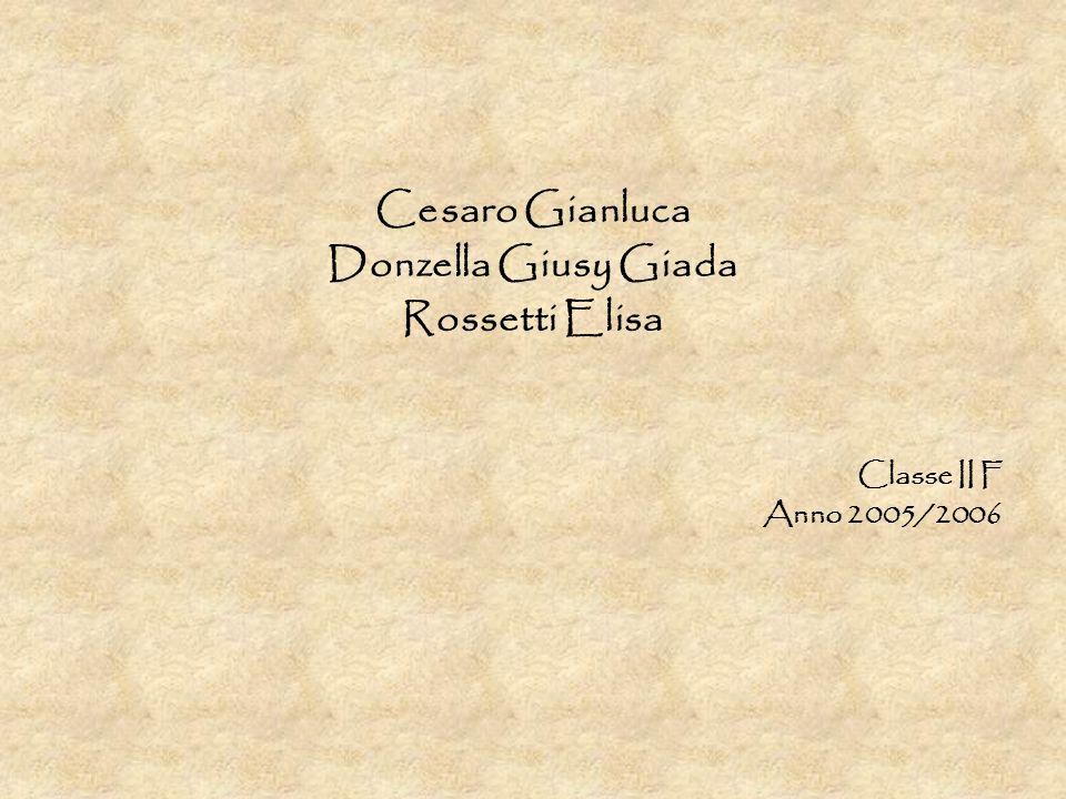 Cesaro Gianluca Donzella Giusy Giada Rossetti Elisa Classe II F Anno 2005/2006