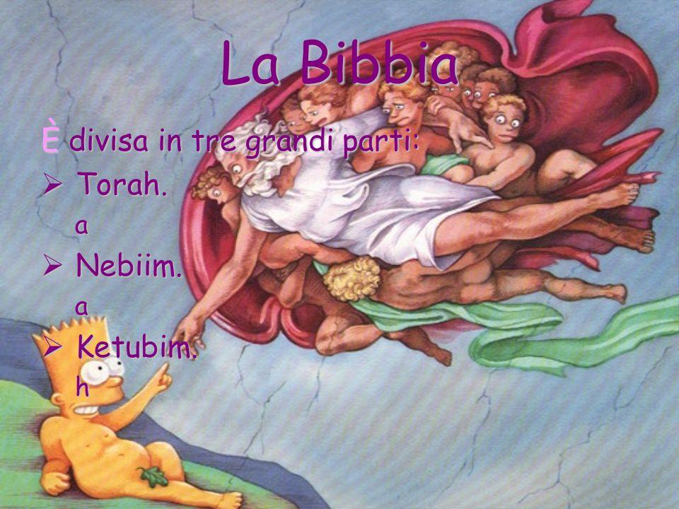 La Bibbia È divisa in tre grandi parti: Torah. Torah.a Nebiim. Nebiim.a Ketubim. Ketubim.h