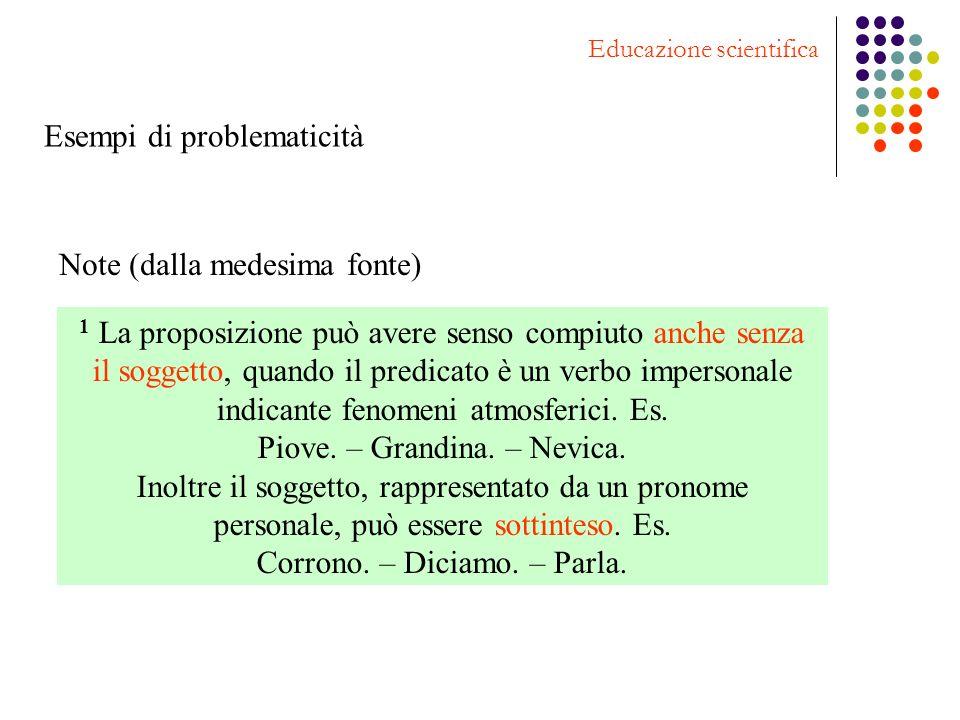 Note (dalla medesima fonte) 1 La proposizione può avere senso compiuto anche senza il soggetto, quando il predicato è un verbo impersonale indicante f