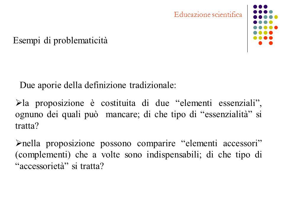 Esempi di problematicità Educazione scientifica Due aporie della definizione tradizionale: la proposizione è costituita di due elementi essenziali, og