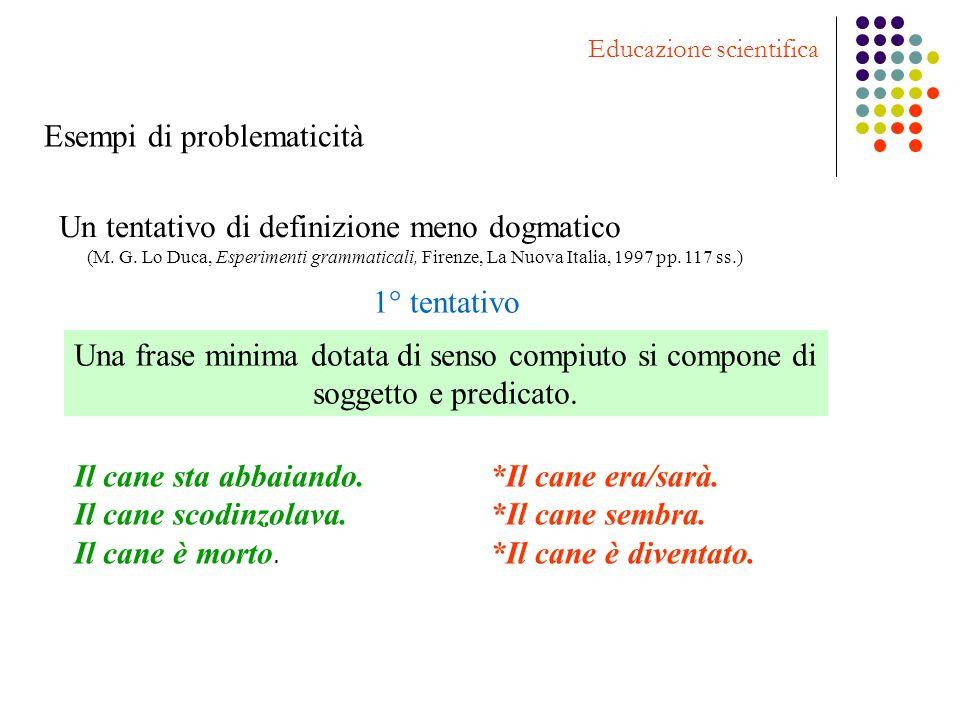 Esempi di problematicità Educazione scientifica Un tentativo di definizione meno dogmatico (M. G. Lo Duca, Esperimenti grammaticali, Firenze, La Nuova
