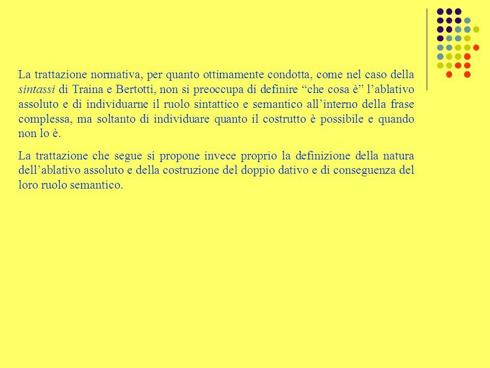 La trattazione normativa, per quanto ottimamente condotta, come nel caso della sintassi di Traina e Bertotti, non si preoccupa di definire che cosa è