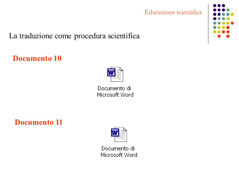 Educazione scientifica La traduzione come procedura scientifica Documento 10 Documento 11