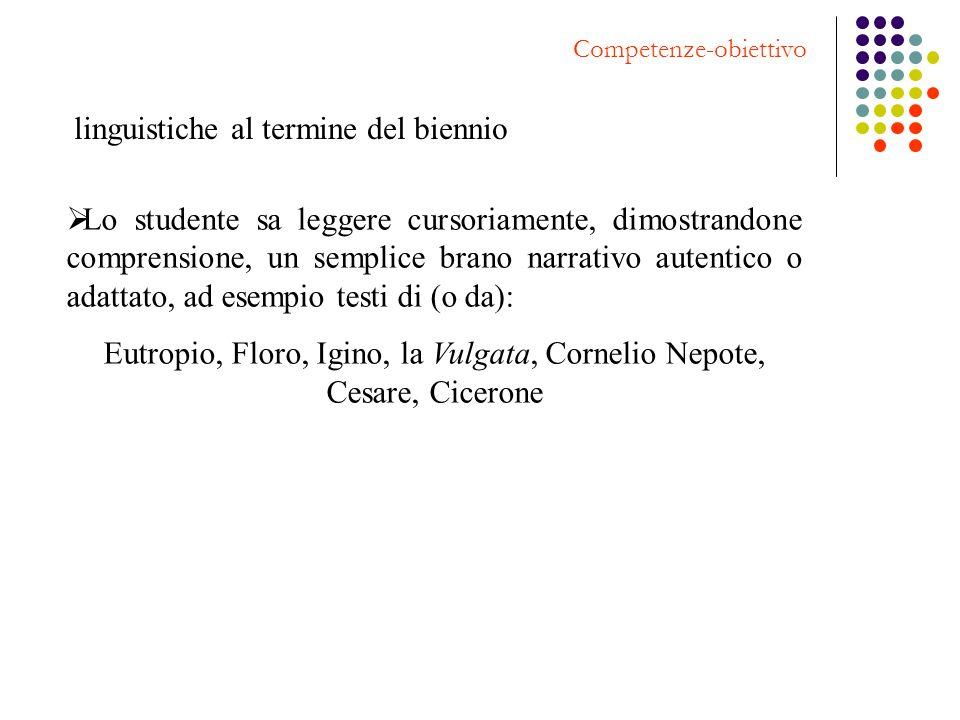 Competenze-obiettivo linguistiche al termine del biennio Lo studente sa leggere cursoriamente, dimostrandone comprensione, un semplice brano narrativo