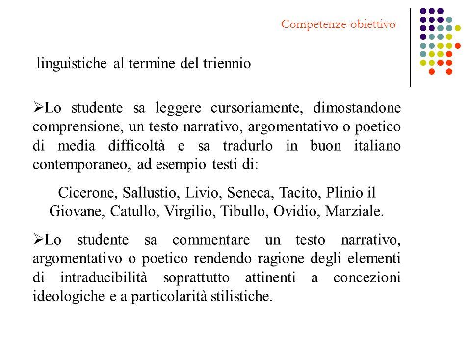 Competenze-obiettivo linguistiche al termine del triennio Lo studente sa leggere cursoriamente, dimostandone comprensione, un testo narrativo, argomen