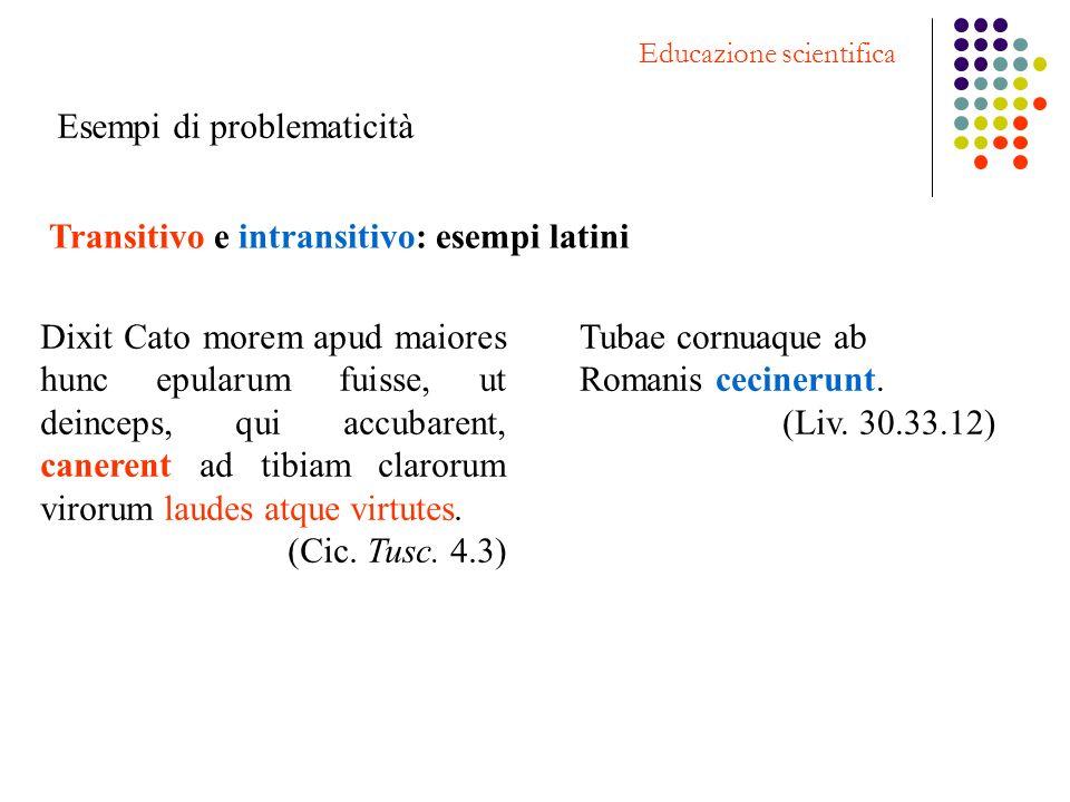 Transitivo e intransitivo: esempi latini Dixit Cato morem apud maiores hunc epularum fuisse, ut deinceps, qui accubarent, canerent ad tibiam clarorum