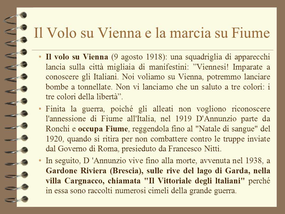 DAnnunzio e Mussolini Nei confronti del fascismo D Annunzio tenne un atteggiamento ambiguo, fatto ora di indipendenza sprezzante ora di benevolo appoggio, usufruendo in ogni caso di sovvenzioni notevoli.