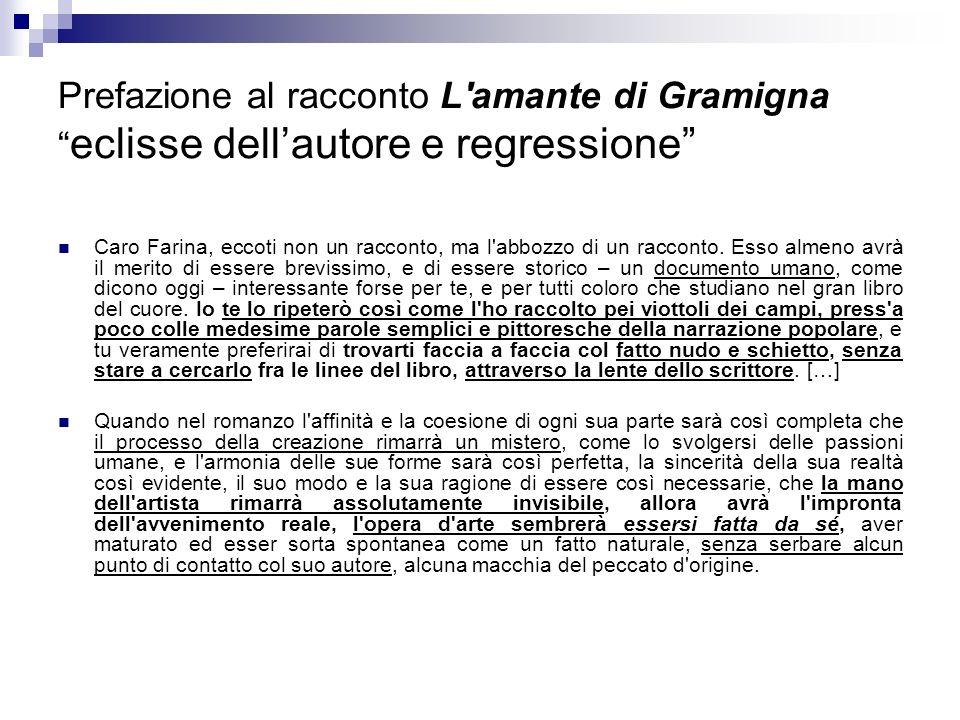 Prefazione al racconto L'amante di Gramigna eclisse dellautore e regressione Caro Farina, eccoti non un racconto, ma l'abbozzo di un racconto. Esso al