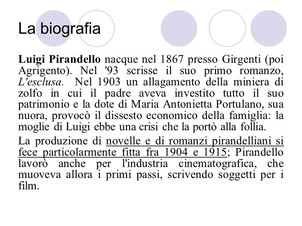 La biografia Luigi Pirandello nacque nel 1867 presso Girgenti (poi Agrigento). Nel '93 scrisse il suo primo romanzo, L'esclusa. Nel 1903 un allagament