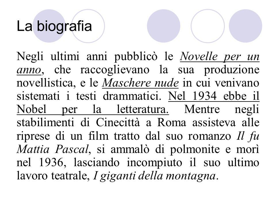 La biografia Negli ultimi anni pubblicò le Novelle per un anno, che raccoglievano la sua produzione novellistica, e le Maschere nude in cui venivano s