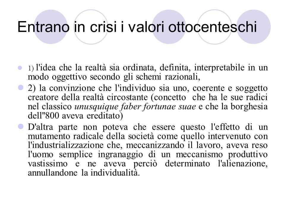 Entrano in crisi i valori ottocenteschi 1) l'idea che la realtà sia ordinata, definita, interpretabile in un modo oggettivo secondo gli schemi raziona