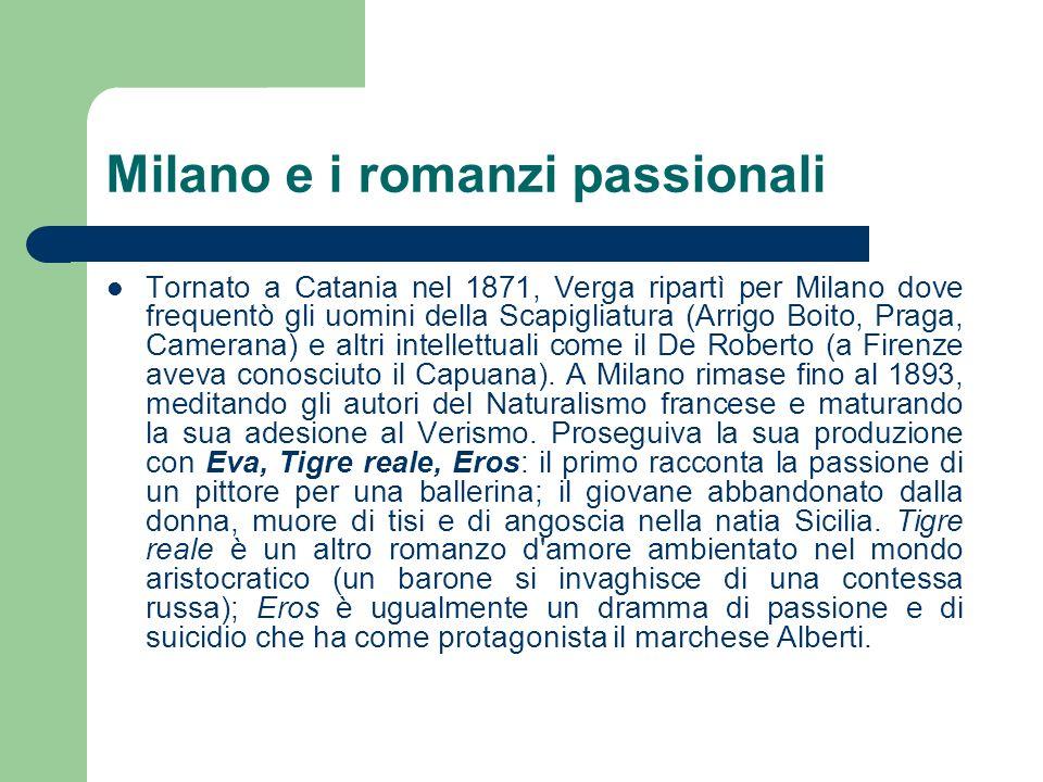 Milano e i romanzi passionali Tornato a Catania nel 1871, Verga ripartì per Milano dove frequentò gli uomini della Scapigliatura (Arrigo Boito, Praga,