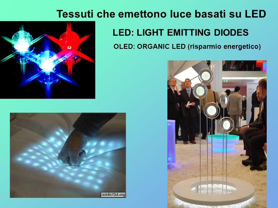 Tessuti che emettono luce basati su LED LED: LIGHT EMITTING DIODES OLED: ORGANIC LED (risparmio energetico)