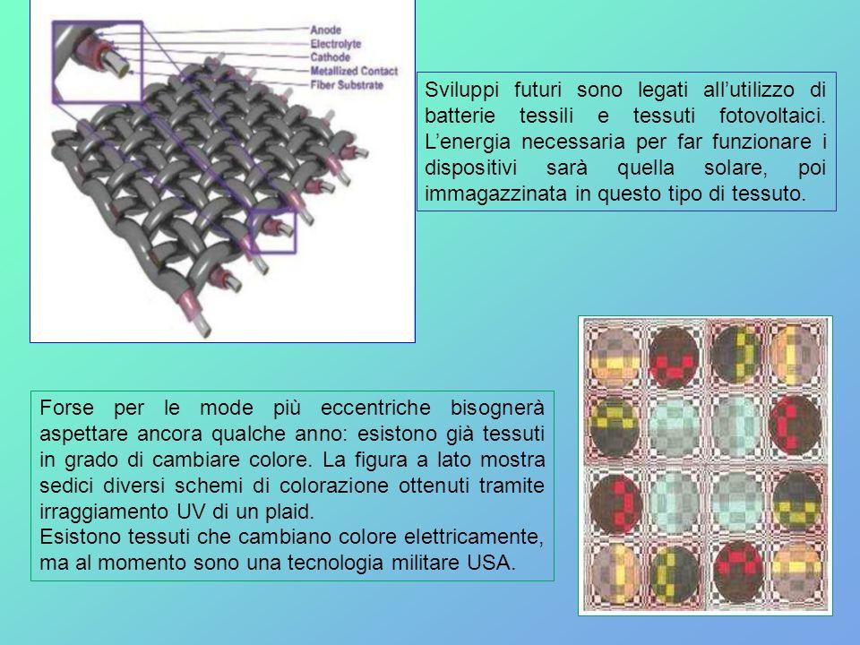Sviluppi futuri sono legati allutilizzo di batterie tessili e tessuti fotovoltaici. Lenergia necessaria per far funzionare i dispositivi sarà quella s