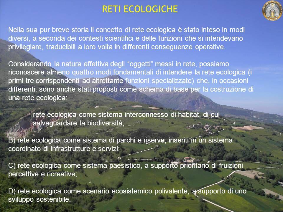 RETI ECOLOGICHE Nella sua pur breve storia il concetto di rete ecologica è stato inteso in modi diversi, a seconda dei contesti scientifici e delle funzioni che si intendevano privilegiare, traducibili a loro volta in differenti conseguenze operative.