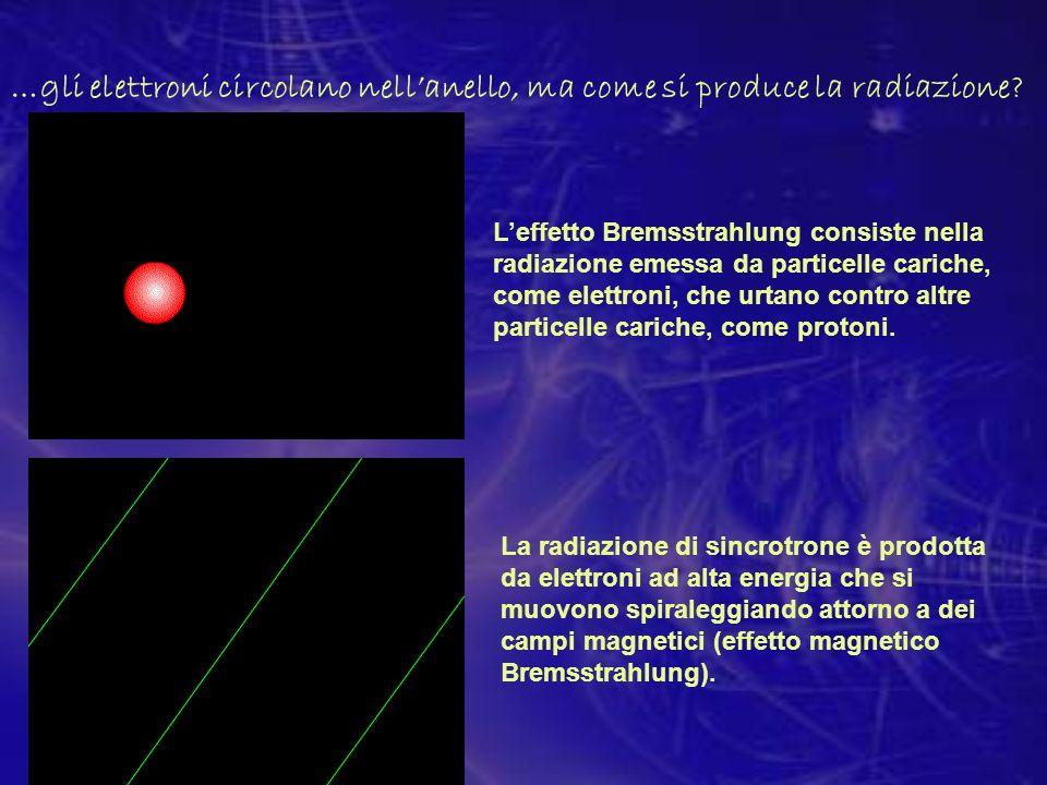 …gli elettroni circolano nellanello, ma come si produce la radiazione? Leffetto Bremsstrahlung consiste nella radiazione emessa da particelle cariche,