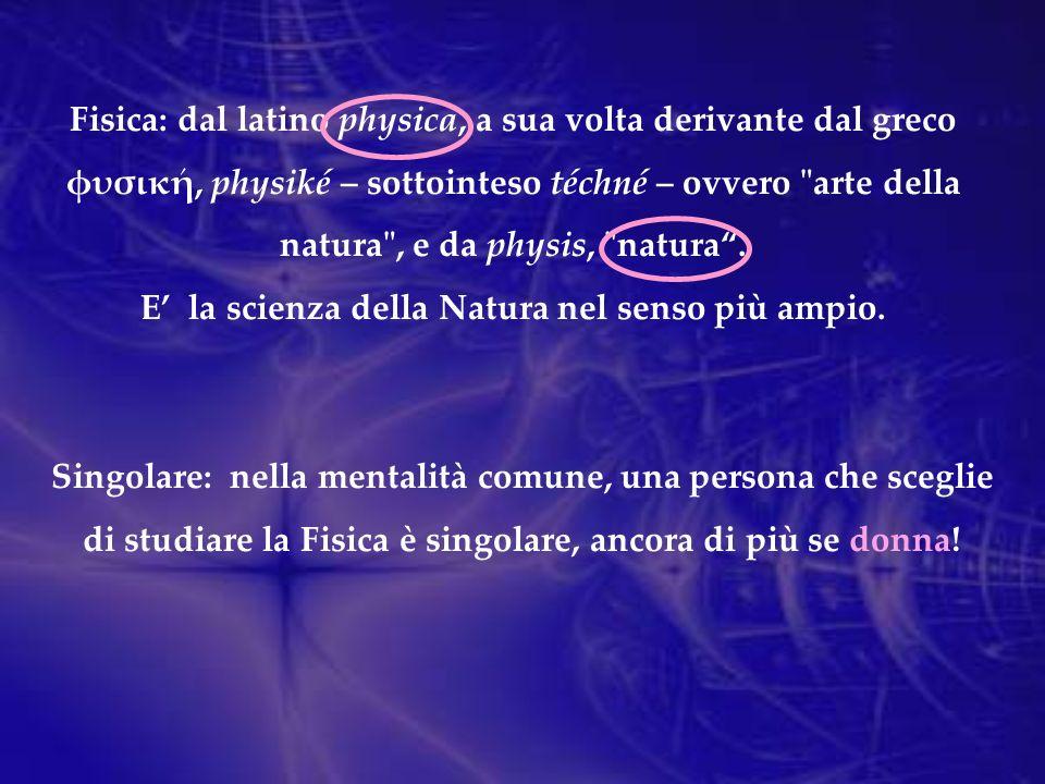 Fisica: dal latino physica, a sua volta derivante dal greco φυσική, physiké – sottointeso téchné – ovvero arte della natura , e da physis, natura.