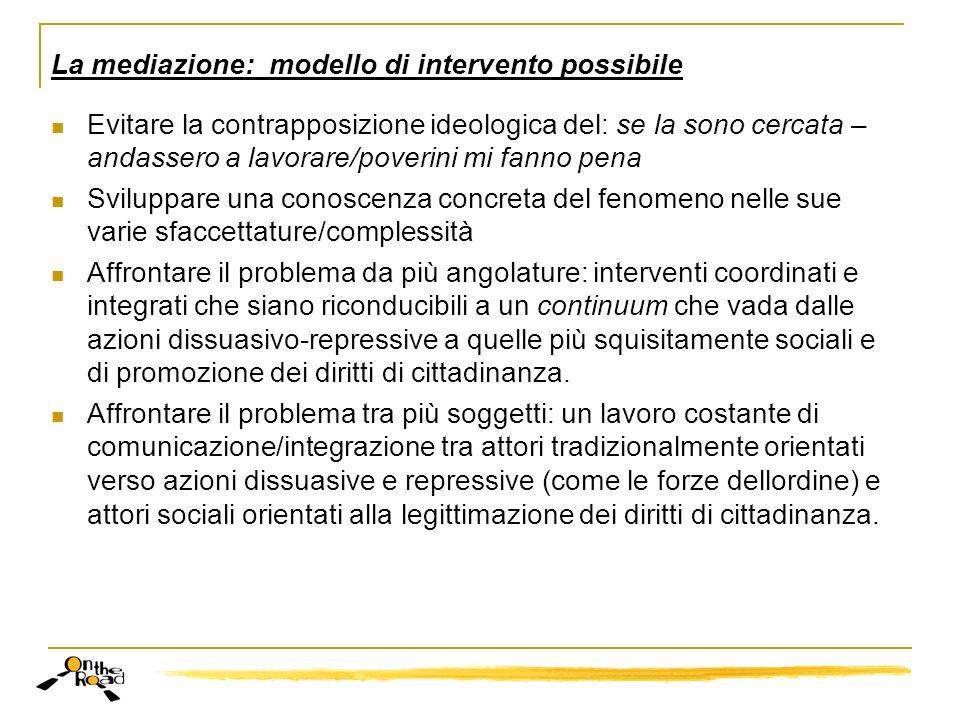 La mediazione: modello di intervento possibile Evitare la contrapposizione ideologica del: se la sono cercata – andassero a lavorare/poverini mi fanno