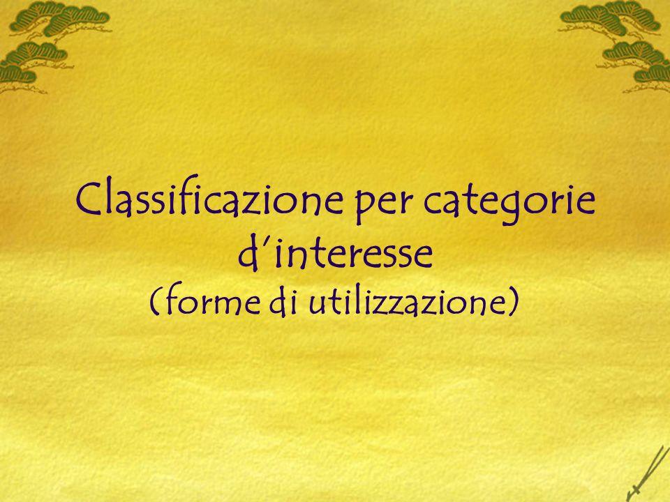 Classificazione per categorie dinteresse (forme di utilizzazione)