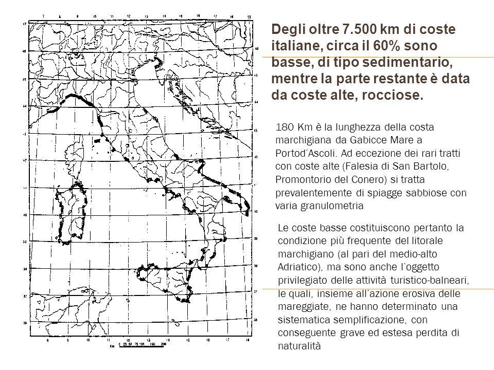 Degli oltre 7.500 km di coste italiane, circa il 60% sono basse, di tipo sedimentario, mentre la parte restante è data da coste alte, rocciose.