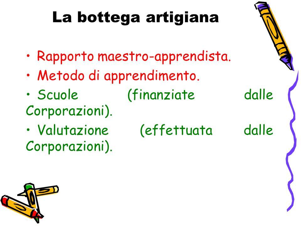 La bottega artigiana Rapporto maestro-apprendista. Metodo di apprendimento. Scuole (finanziate dalle Corporazioni). Valutazione (effettuata dalle Corp