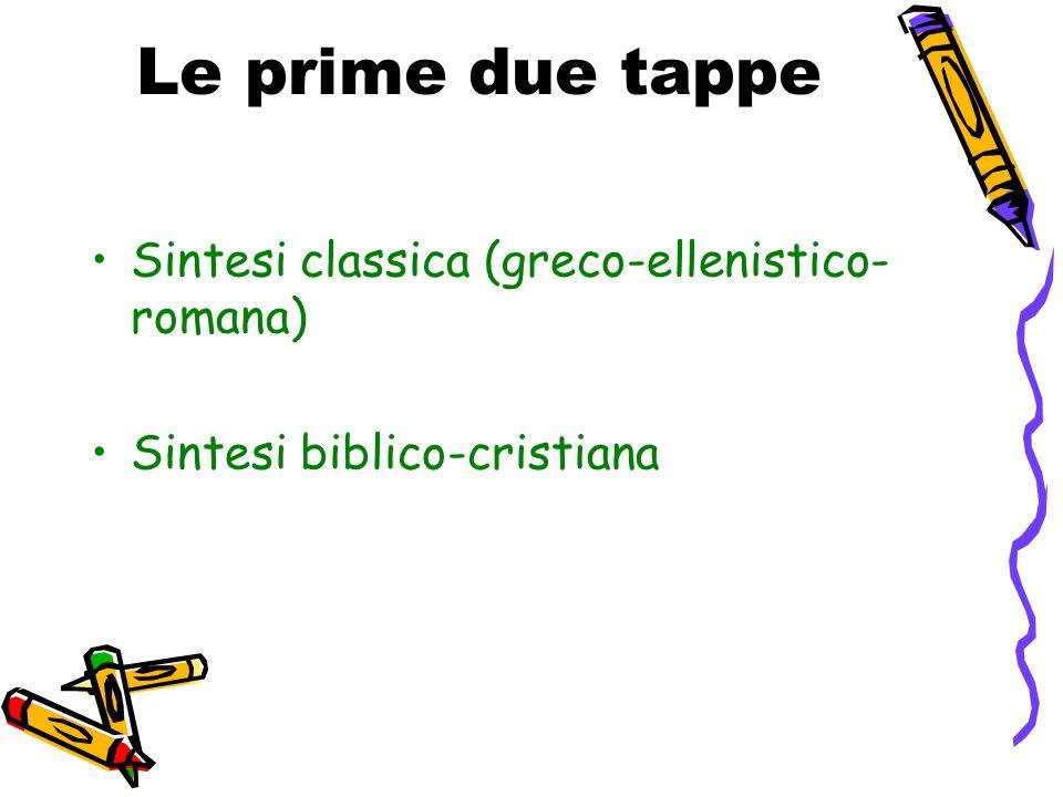 Le prime due tappe Sintesi classica (greco-ellenistico- romana) Sintesi biblico-cristiana