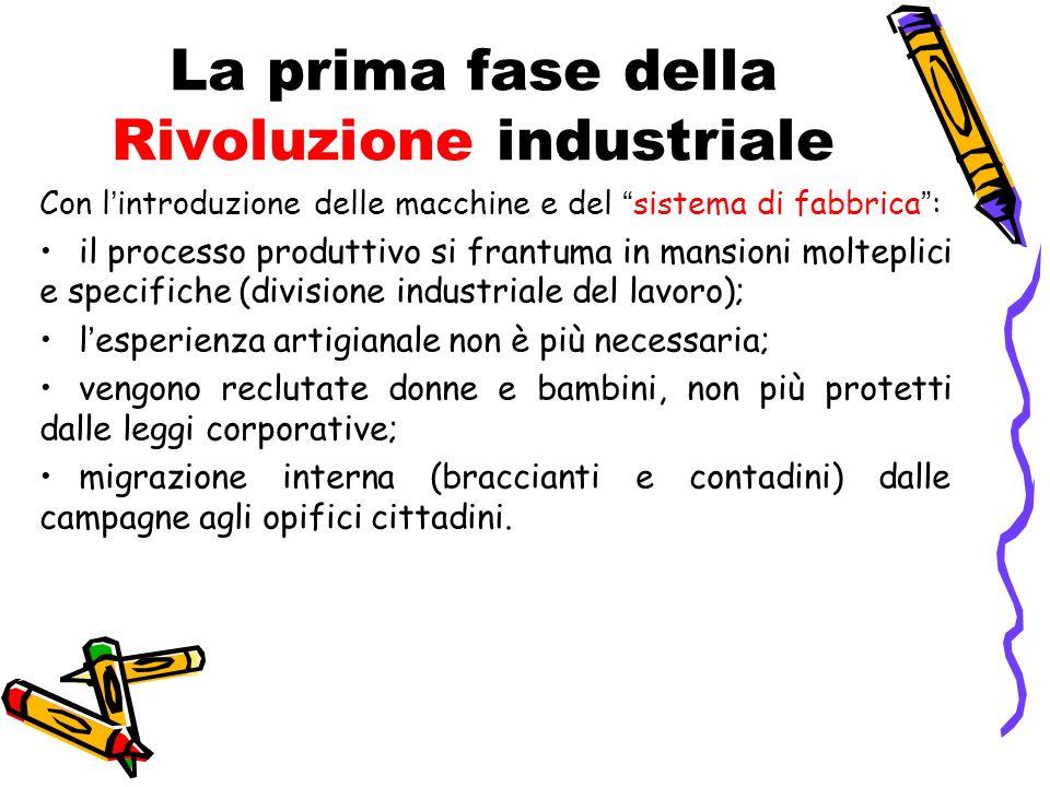 La prima fase della Rivoluzione industriale Con lintroduzione delle macchine e del sistema di fabbrica: il processo produttivo si frantuma in mansioni