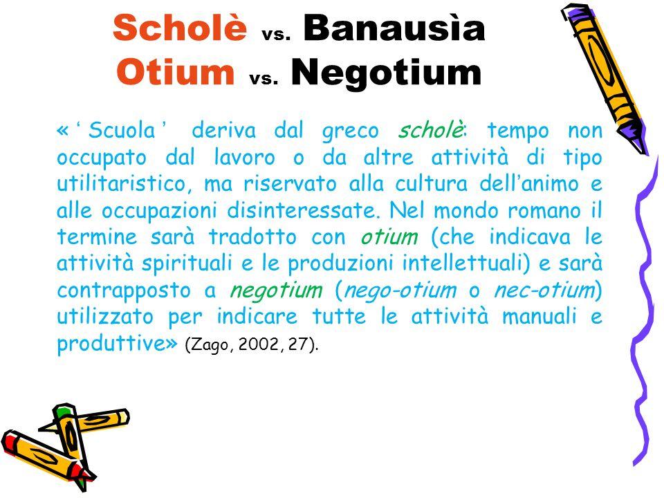 Scholè vs. Banausìa Otium vs. Negotium «Scuola deriva dal greco scholè: tempo non occupato dal lavoro o da altre attività di tipo utilitaristico, ma r