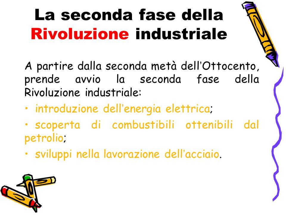 La seconda fase della Rivoluzione industriale A partire dalla seconda metà dellOttocento, prende avvio la seconda fase della Rivoluzione industriale: introduzione dellenergia elettrica; scoperta di combustibili ottenibili dal petrolio; sviluppi nella lavorazione dellacciaio.